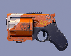 3D asset realtime Revolver sci-fi game ready pbr
