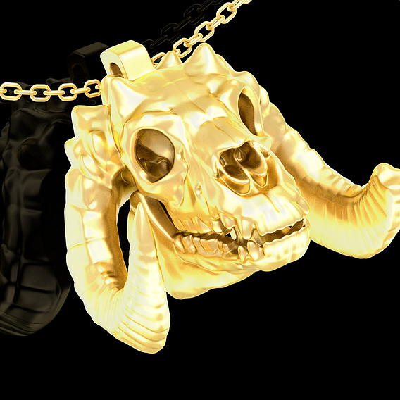 Mountain goat Skull pendant jewelry gold necklace 3D print model