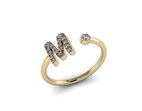 gold 3D print model Letter Jewelry Ring