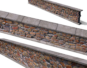 Granite wall based-scan 3D asset