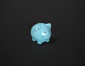 3D model Blue Piggy Bank