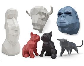 3D model Origami Sculpture Animals Collection Marokka