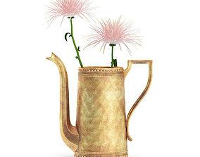 Pink Flowes in Golden Teapot 3D