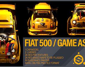 VR / AR ready FIAT 500 CAR 3D MODEL GAME READY ASSET