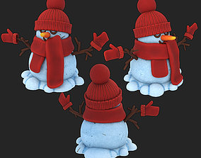 3D asset one snowman in a knitted hat and gloves