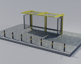 3D asset VR / AR ready Bus stop station