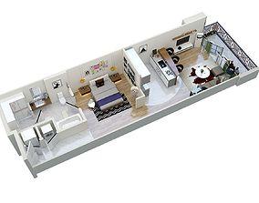 floor plan apartment F1 3D