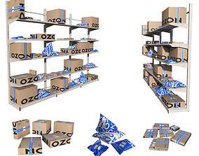 Shelving with boxes Ozon 3D model