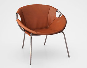 3D model Dries Leather Sling Chair by West Elm