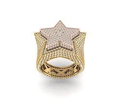 3D print model star ring full diamond v4 men
