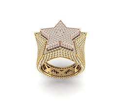3D print model star ring full diamond v4 men