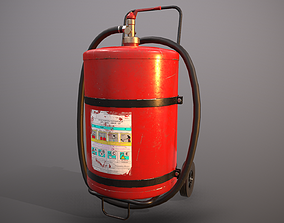 Fire extinguisher with cart 3D model