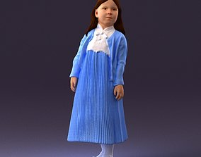 000994 little girl in blue dress 3D model