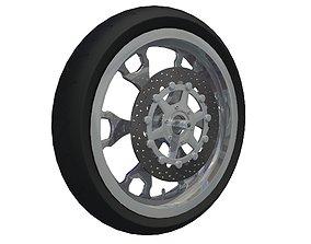 BLack Motorcycle Wheel 3D model
