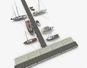 Piers with Sailboats and Yachts V1 3D model