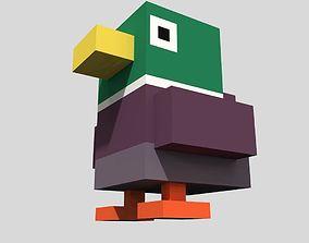 3D asset Voxel Green Duck