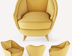 Armchair yellow modern american style 3D