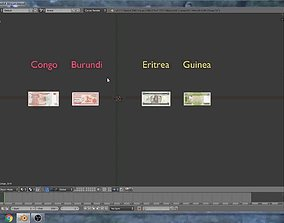 Exotic banknotes from Africa 3D asset