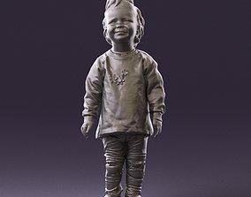 001046 little blonde kid in white 3D Print