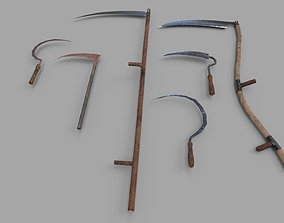 Pack of 6 Medieval Farm Scythe and Sickles 3D model