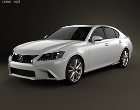 3D model Lexus GS F Sport hybrid L10 with HQ interior 2012