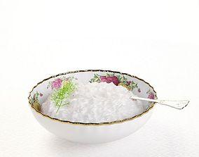 Bowl Porcelain With Gold Trim 3D model