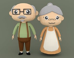 3D asset Low Poly Cartoon character Old