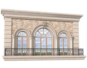 3D Balcony with arched windows and wrought iron railing