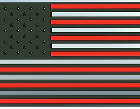 3D American Flag With Hollow White Stripes