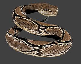 3D model lowpoly snake