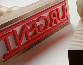 3D asset URGENT RUBBER STAMP