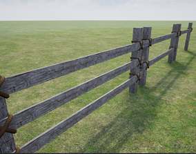 Wooden Fence fence 3D model VR / AR ready