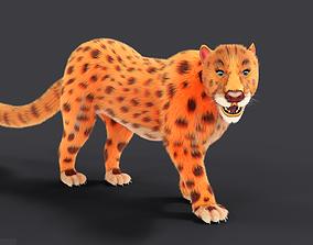 3D model Fur Female Leopard Rigged