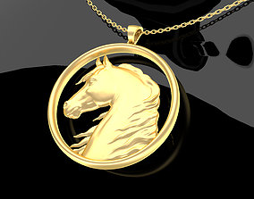 Lucky Horse Pendant jewelry Gold 3D print model