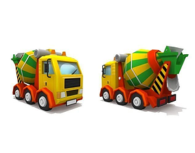 3D asset Stylised lowpoly cement mixing truck