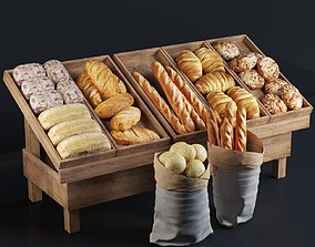 3D model Rack with pastries