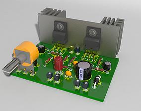 Amplifier Board Circuit real 3D asset