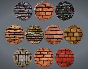 3D Stylized PBR Brick Textures