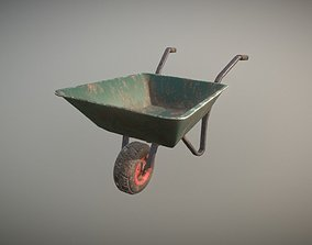 Low Poly Wheel Barrow 3D asset