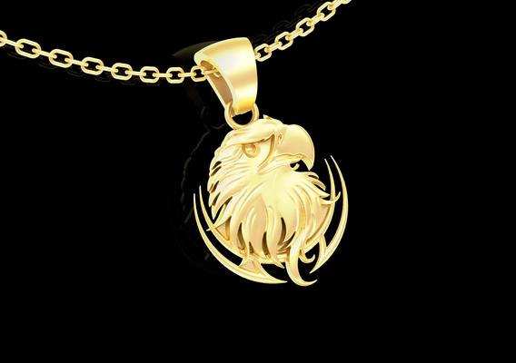 Eagle Bust Pendant jewelry Gold 3D print model