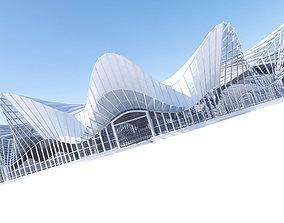 Futuristic Architectural Interior Structure 3D