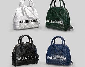 Balenciaga Ville Top Handle XXS Bag Crocodile 3D