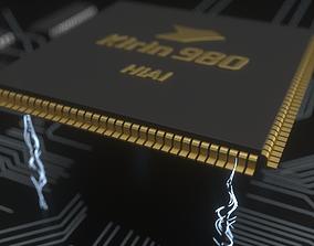 Huawei Kirin 980 chip current animation - C4D 3D model