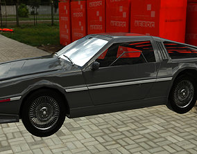 3D model low-poly sport Delorean DMC-12