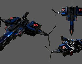 Spaceship transport Starship combat low poly 3D asset 1