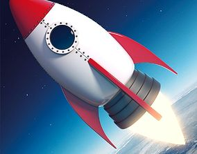 3D asset Cartoon Rocket Ship V2
