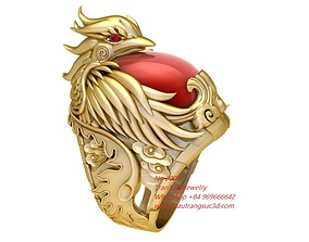 2000 Gold Phoneix Ring with Oval Ruby bring 3D print model