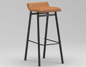 Light Brown Leather Stool 3D model