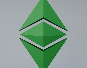 game-ready Ethereum Classic Crypto Currency 3D Logo