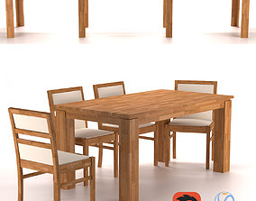 Folding table Elbridge and chairs 3D